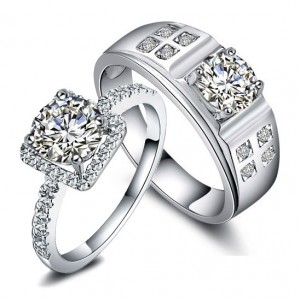 Custom Engraved Diamond Wedding Rings Set